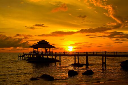 Sunset over the beach, island Koh Kood, Thailand. photo