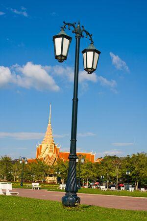 Lamppost in the park in Phnom Penh, Cambodia photo