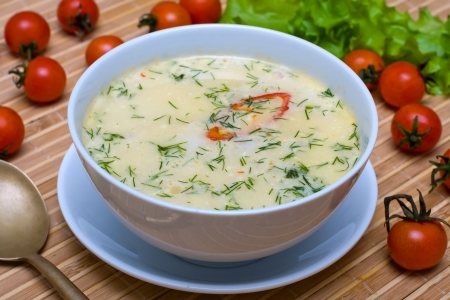 Cream soup with chicken broth with vegetables photo