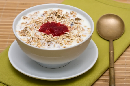 Delicious and healthy granola or muesli, with lots of dry fruits, nuts and grains photo