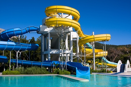 Aqua-park at mediterranean summer resort hotel in Turkey