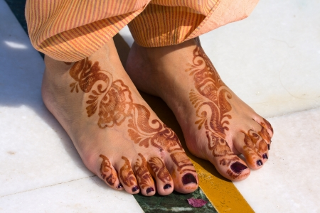 Henna On Feet Of Bride From India photo