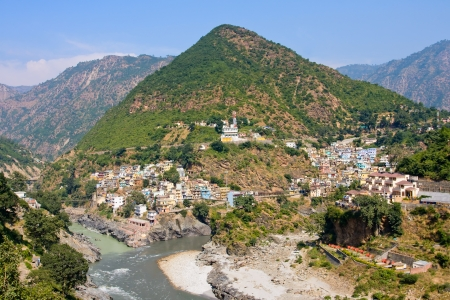 devprayag: Devprayag is the last prayag of Alaknanda River and from this point the confluence of Alaknanda and Bhagirathi River is known as Ganga. Uttrakhand, India,