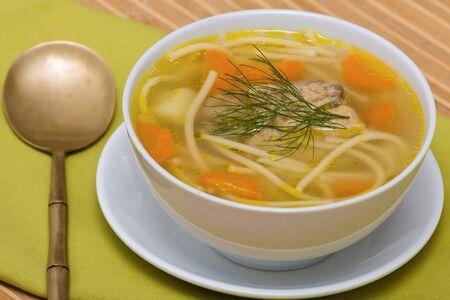 sopa de pollo: Sopa de pollo con fideos y verduras