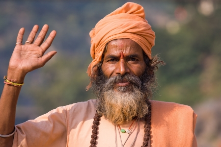 Indian sadhu (holy man). Devprayag, Uttarakhand, India. Stock Photo - 16035262