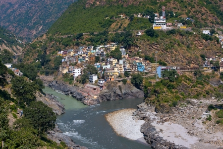 Devprayag is the last prayag of Alaknanda River and from this point the confluence of Alaknanda and Bhagirathi River is known as Ganga. Uttarakhand, India. Stock Photo