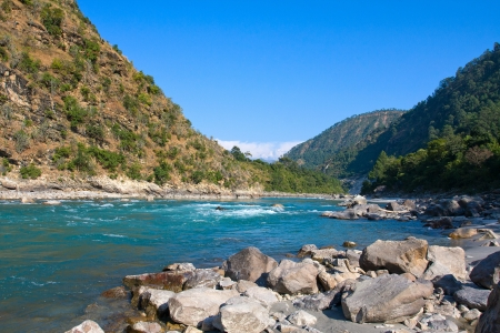 Ganges river in Himalayas mountains. Uttarakhand, India. photo
