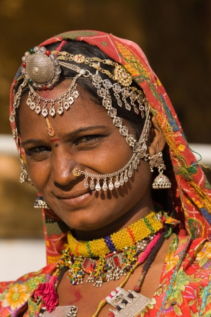 Portrait of a India Rajasthani woman close up photo