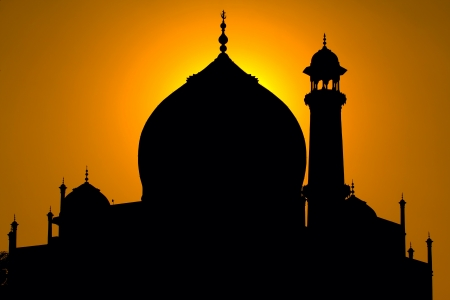 dome of hindu temple: Taj Mahal silhouette, Agra, India Stock Photo