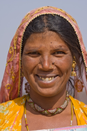 Portrait of an Indian woman, Pushkar, Rajasthan, India. Close up . photo