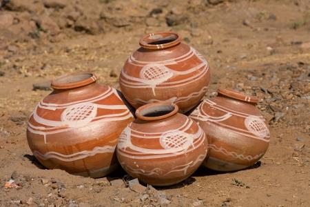 haryana: Indian clay pot in market outdoor