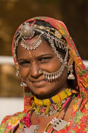 Portrait of a India Rajasthani woman closeup photo