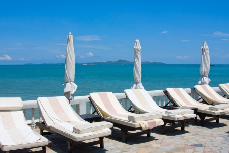 lounges: Chaise lounges by the sea in Thailand