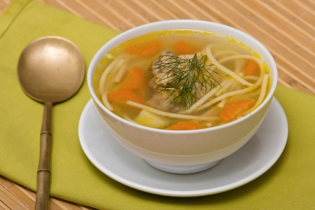 Chicken soup with noodle and vegetables Stock Photo - 17009799