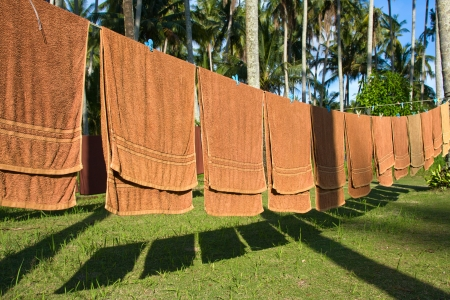 Fresh clean hotel towels drying on a line outdoors Stock Photo - 17010017