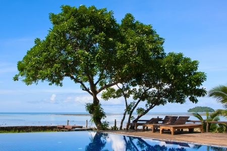 Swimming pool by the sea in Thailand Stock Photo - 17043337