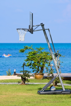 Outdoor basketball net near the sea on island Koh Phangan, Thailand. photo