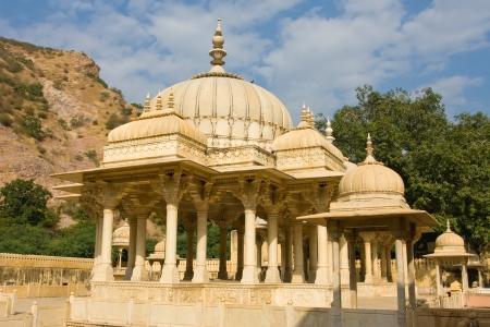 Memorial grounds to Maharaja Sawai Mansingh II and family constructed of marble. Gatore Ki Chhatriyan, Jaipur, Rajasthan, India. photo