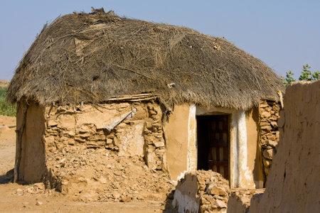 village house: Lonely cabin in the desert near Jaisalmer, India