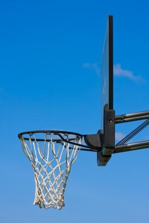 the height of a rim: Outdoor basketball hoop set against a blue sky