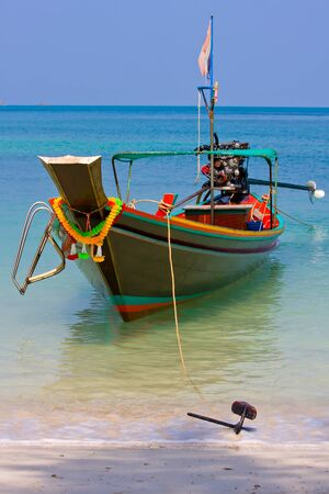 Thailand ship and sea landscape on island Koh Phangan photo
