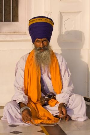 sikhism: Indian sikh man in turban with bushy beard Stock Photo