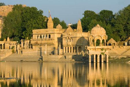 sagar: Stone tower in sacred Gadi Sagar lake in Jaisalmer, India