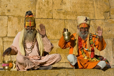 rajasthan: Indian sadhu (holy man). Jaisalmer, Rajasthan, India. Stock Photo