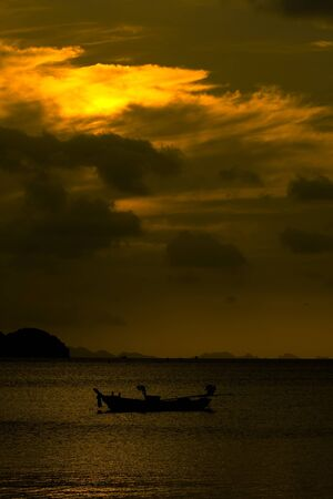 Beautiful sunset on the beach in Thailand. photo