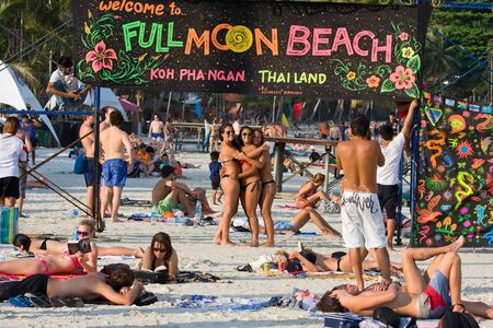 rin: PHANGAN - JANUARY 26:Haad Rin beach before the full moon party, on Jan 26, 2013 in Koh Phangan , Thailand . The event now draws a crowd of about 20,000-30,000 every full moon evening