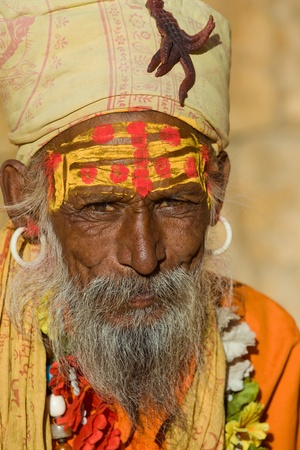 Indian sadhu (holy man). Jaisalmer, Rajasthan, India. Stock Photo - 17993383