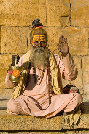 sadhu: Indian sadhu (holy man). Jaisalmer, Rajasthan, India. Stock Photo