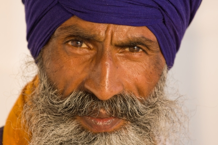 sikhism: Portrait of Indian sikh man in turban with bushy beard Stock Photo