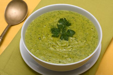 Spinach cream soup in white bowl photo