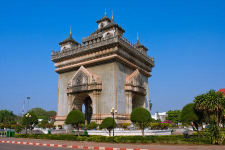 commemorate: Patuxai monument in Vientiane capital of Laos