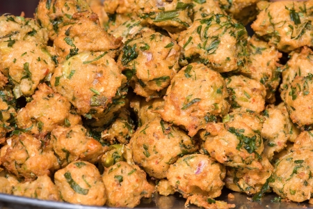 onion bhaji: Indian onion baji background Stock Photo
