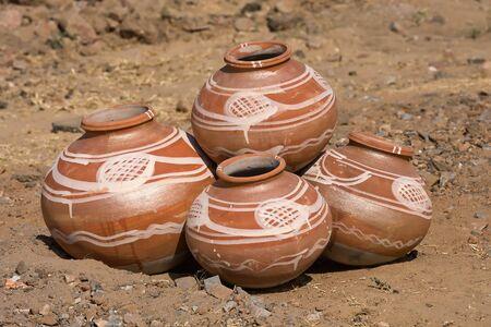 ingenuity: Indian clay pot in market outdoor