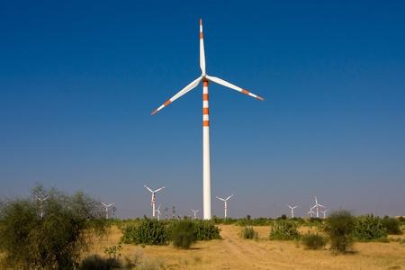 Windmills at Thar desert in Rajasthan, India photo