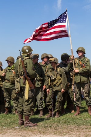 KIEV, UKRAINE -MAY 11: Members of Red Star history club wear historical American uniforms during historical reenactment of WWII, May 11, 2013 in Kiev, Ukraine