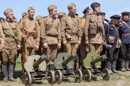 KIEV, UKRAINE - MAY 11 : Members of Red Star history club wear historical Soviet uniform during historical reenactment of WWII on May 11, 20113 in Kiev, Ukraine Editorial
