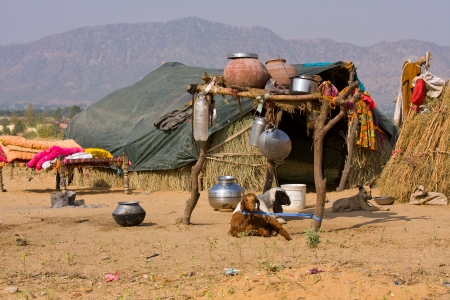 Lonely house in the desert near Pushkar, India photo