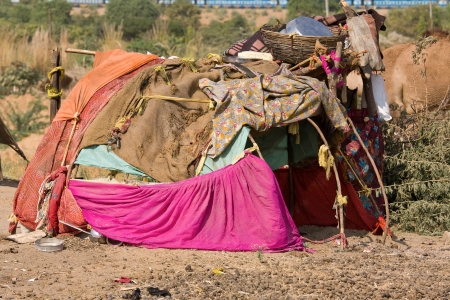 squalor: Lonely house in the desert near Pushkar, India Stock Photo