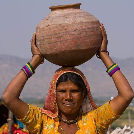 Portrait of an Indian woman, Pushkar, Rajasthan, India. photo