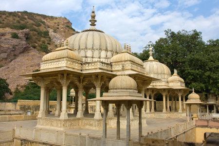 Memorial grounds to Maharaja Sawai Mansingh II and family constructed of marble. Gatore Ki Chhatriyan, Jaipur, Rajasthan, India.