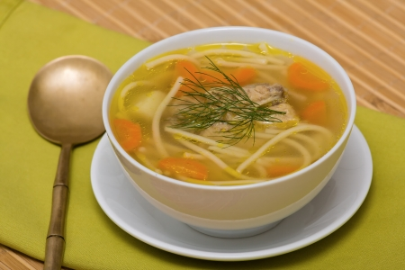 chicken soup: Chicken soup with noodle and vegetables