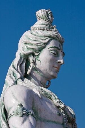 hindu god shiva: Statue Shiva, hindu idol on the river Ganges, Rishikesh , India