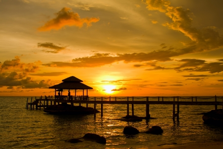 phangan: Sunset over the beach, island Koh Kood, Thailand.