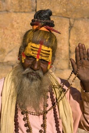 sadhu: Indian sadhu (holy man). Jaisalmer, Rajasthan, India. Stock Photo