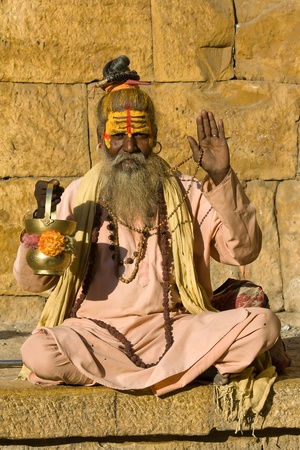 Indian sadhu (holy man). Jaisalmer, Rajasthan, India. Stock Photo - 21818120