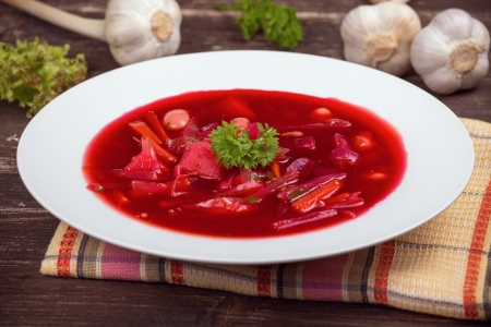Ukrainian and russian national red borsch photo
